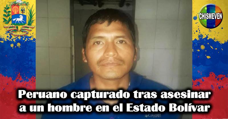 Peruano capturado tras asesinar a un hombre en el Estado Bolívar
