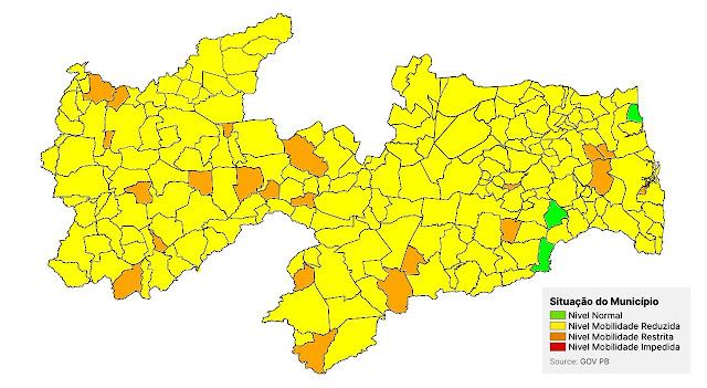 89% das cidade da PB, seguem com mobilidade reduzida para evitar contágio pelo coronavírus