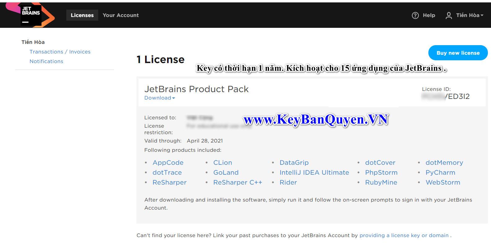 Key bản quyền tài khoản Jetbrains giá rẻ