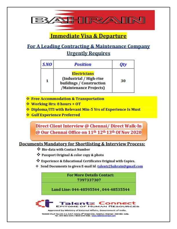 ITI and Diploma Candidates Gulf Job Vacancy For Bahrain For Contracting & Maintenance Company