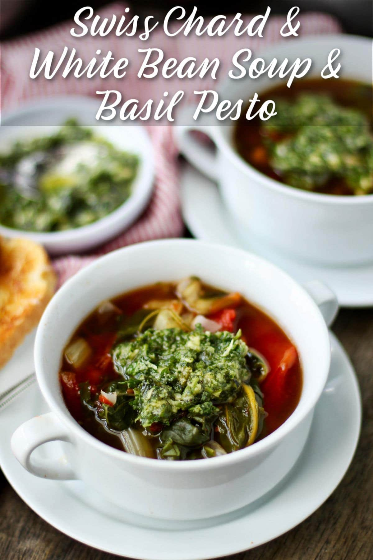 Swiss Chard and White Bean Soup with Basil Pesto in a bowl.