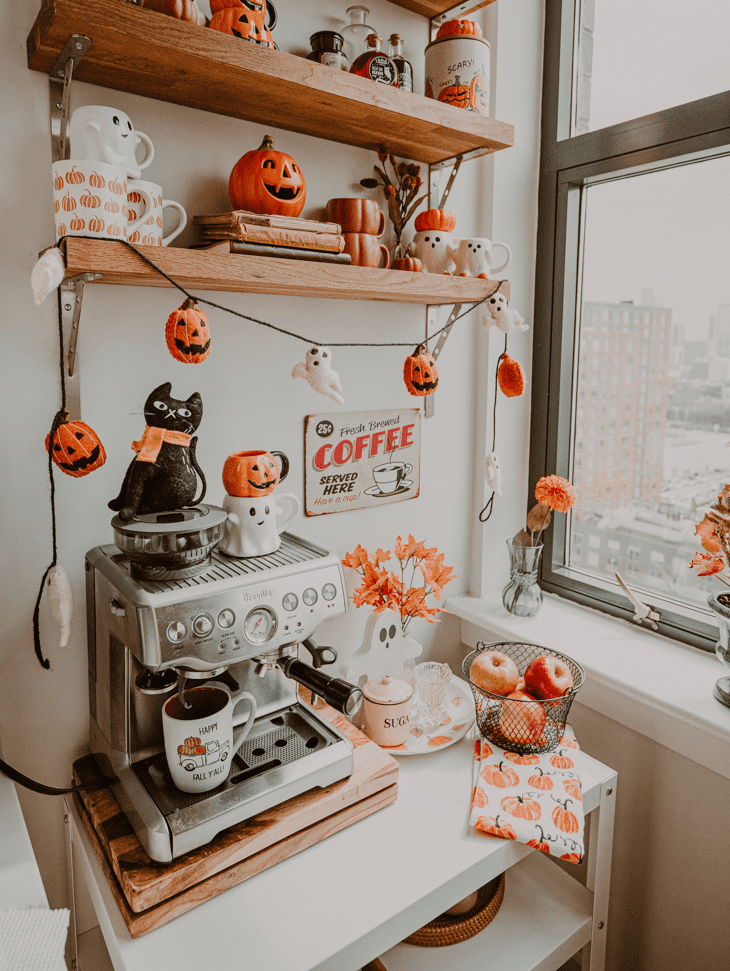 Halloween coffee station — Fall coffee bar — fall coffee station — Halloween coffee bar — fall coffee bar ideas — DIY fall coffee bar — fall coffee mugs — coffee bar decor