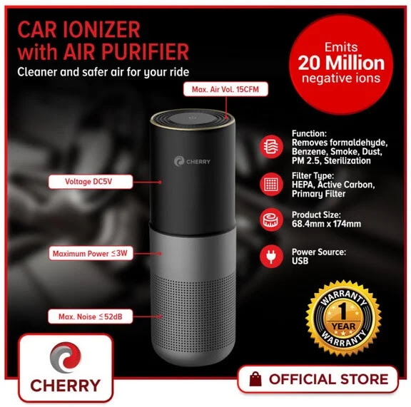 Drive Away Air-Lingering Harmful Viruses and Bacteria with the Cherry Car Ionizer with Air Purifier; Yours for Only Php2,500
