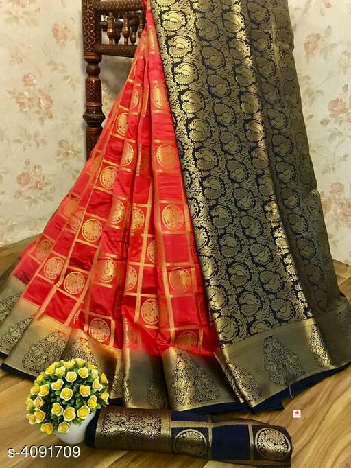 *Kasavu saree with blouse* Nylon Silk Sarees
