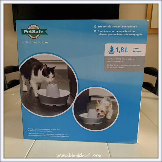 What's In The Box ©BionicBasil® The PetSafe Streamside Ceramic Pet Fountain