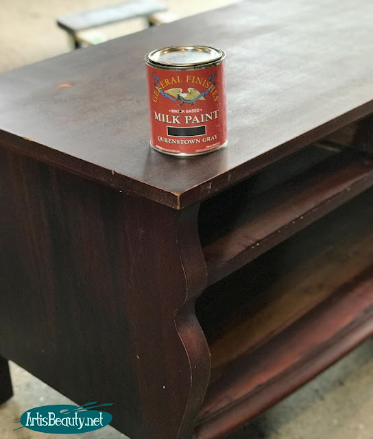 general finishes milk paint in queenstown gray for empire buffet makeover diy