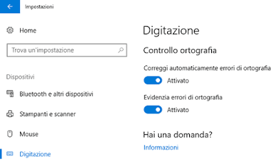 Come abilitare controllo ortografia Windows 10