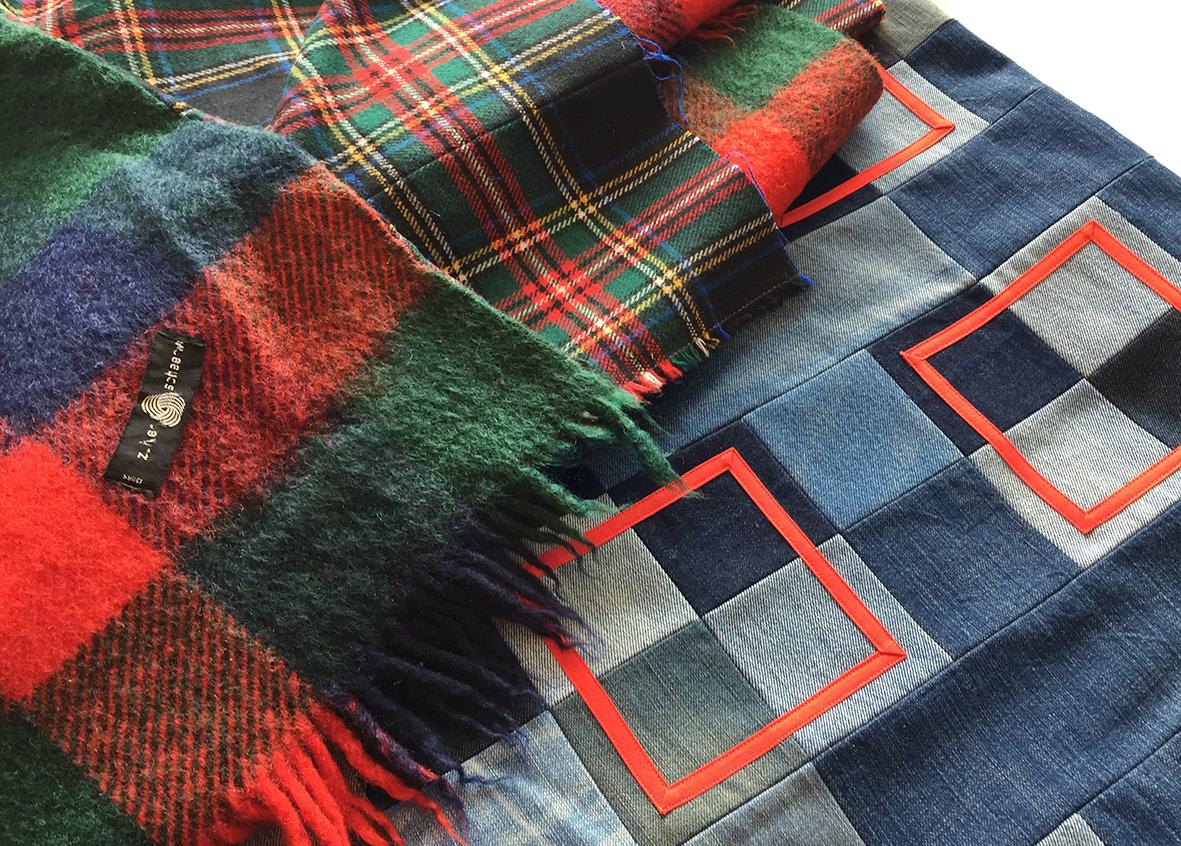 Tartan blanket back for the Positively Squared quilt