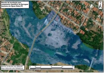 Semarh divulga simulação com áreas que podem ser atingidas em Alagoas, em caso de rompimento de Barragem do Rio Ipanema em Pernambuco
