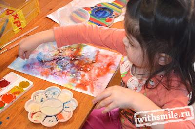 Kids art. Watercolor and salt Paintings. Рисуем с детьми. Техника рисования акварель с солью.