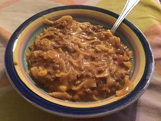 Chili beef noodle skillet, beefy chili noodle skillet meal, easy skillet meals