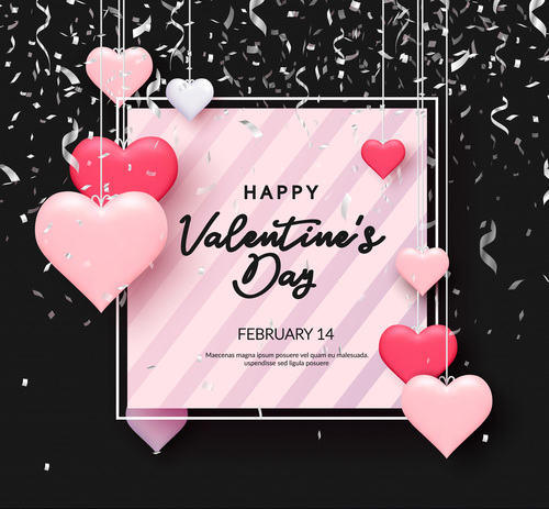 Confetti with valentines day and heart decor free vector