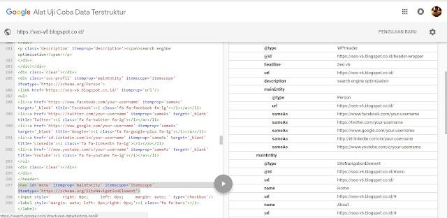 seo template struktur data tool test