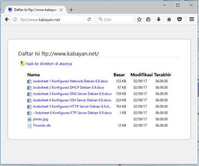 hasil konfigurasi ftp server