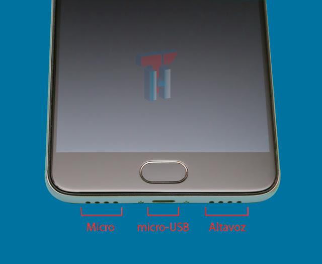 Se muestra la parte inferior del Meizu m3 Note donde podemos distinguir: el micrófono,la conexión micro-USB y el altavoz.