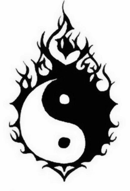Yin Yang off fire tattoo stencil