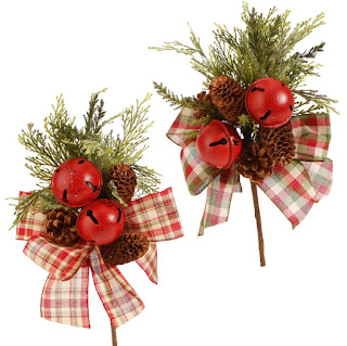 Red jingle bell and cedar floral picks 15 inches