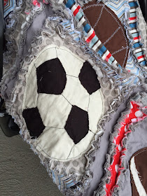 Soccer Raw Edge Applique on Rag Quilt and Car Seat Tent for Baby Boy Blanket