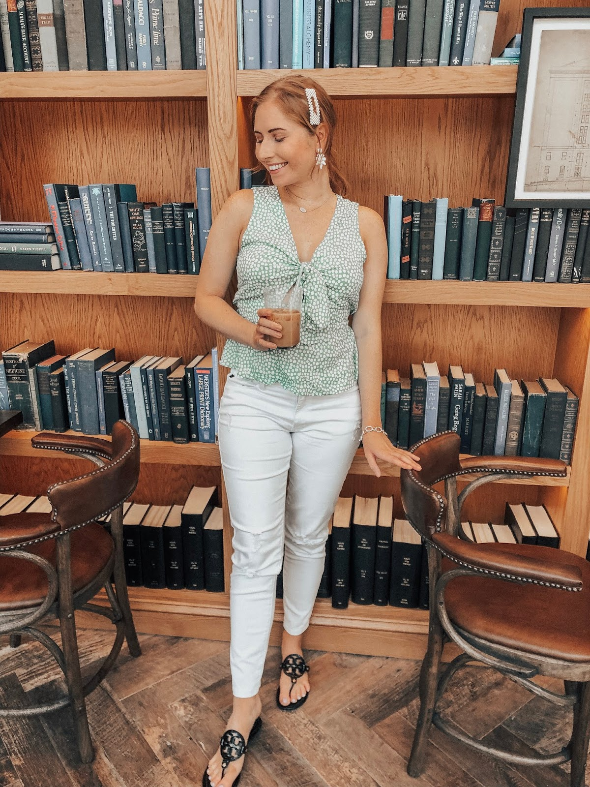 Affordable by Amanda is a Tampa Blogger sharing Easy Ways to Style White Jeans for Summer. Wearing white jeans from Kancan to The Library for brunch in St. Pete, Florida.