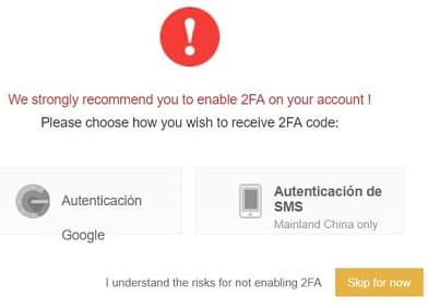 2FA Autenticación 2 Factores en Binance