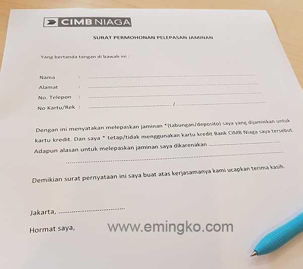 Surat Pencairan Deposito Jaminan Kartu Kredit CIMB Niaga