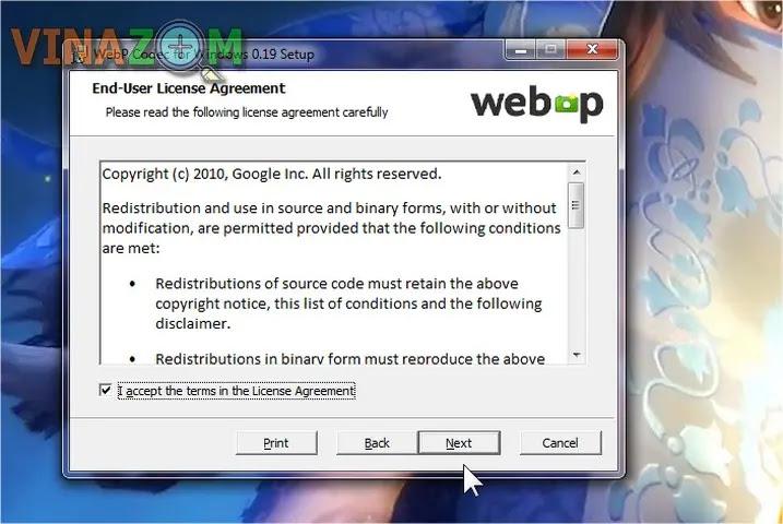 cài đặt WebpCodecSetup bước 2