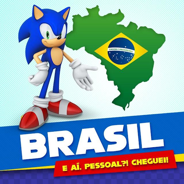 """Arte com Sonic the Hedgehog, o mapa do Brasil e o escrito """"Brasil. E aí, pessoal?! Cheguei!"""""""