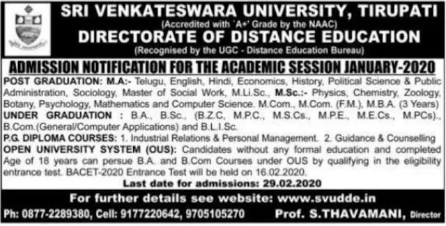 SVU distance education notification 2020, dde degree/ug pg admission