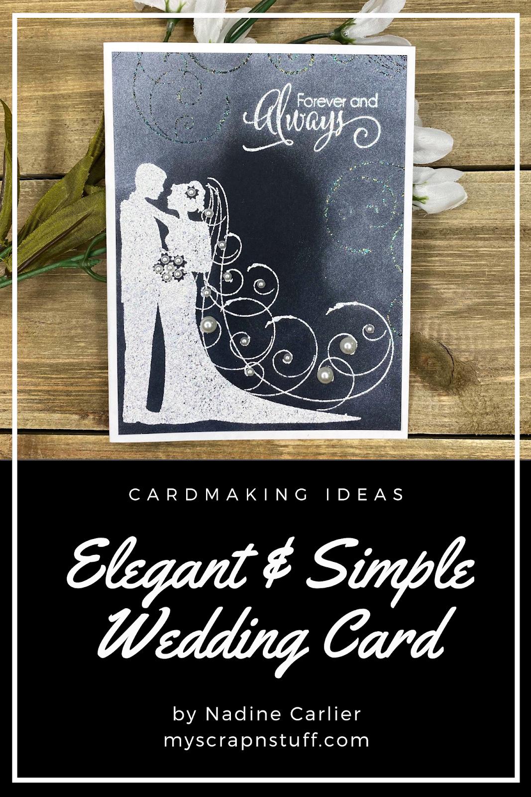 nadine carlier simple  elegant wedding card