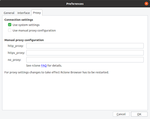 Rclone Browser Proxy settings