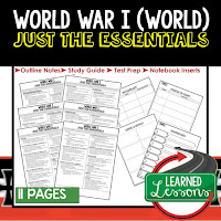 World War I, World History Outline Notes, World History Test Prep, World History Test Review, World History Study Guide, World History Summer School Outline, World History Unit Overview, World History Interactive Notebook Inserts