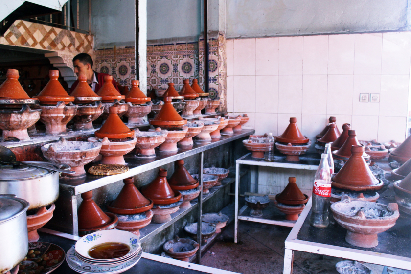 Tagines at the side of the road in Morocco