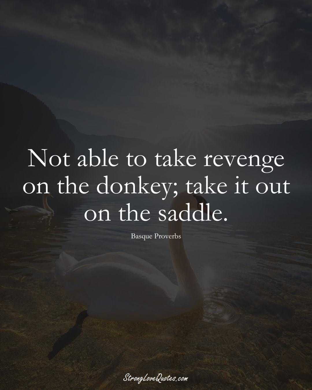Not able to take revenge on the donkey; take it out on the saddle. (Basque Sayings);  #EuropeanSayings