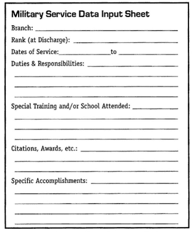 Military Service Data Input Sheet