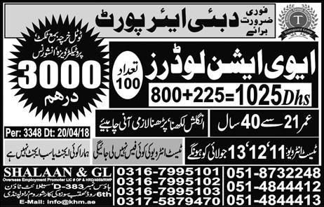 Aviation Loaders Required In Dubai Airport 11 July 2018