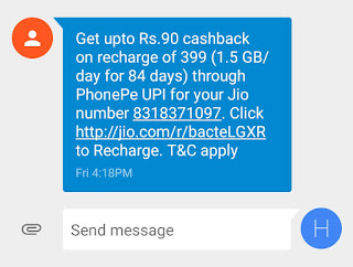 How to Get Phonepe Rs.90 Cashback on Rs.399 Recharge Jio Sim(First Time Recharge Via Phonepe UPI)