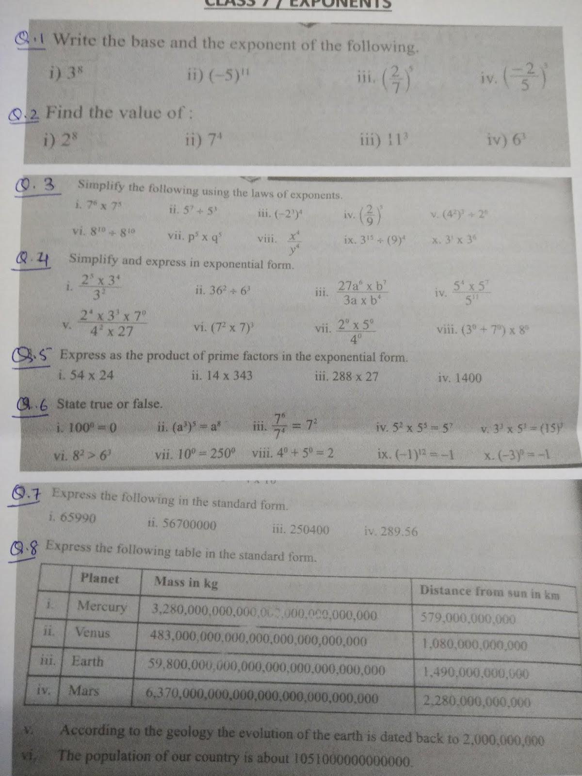 Aps Golconda Priyanka Gupta Class 7 Maths Revision Exponents