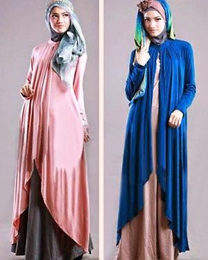 gambar model baju long dress muslimah terbaru