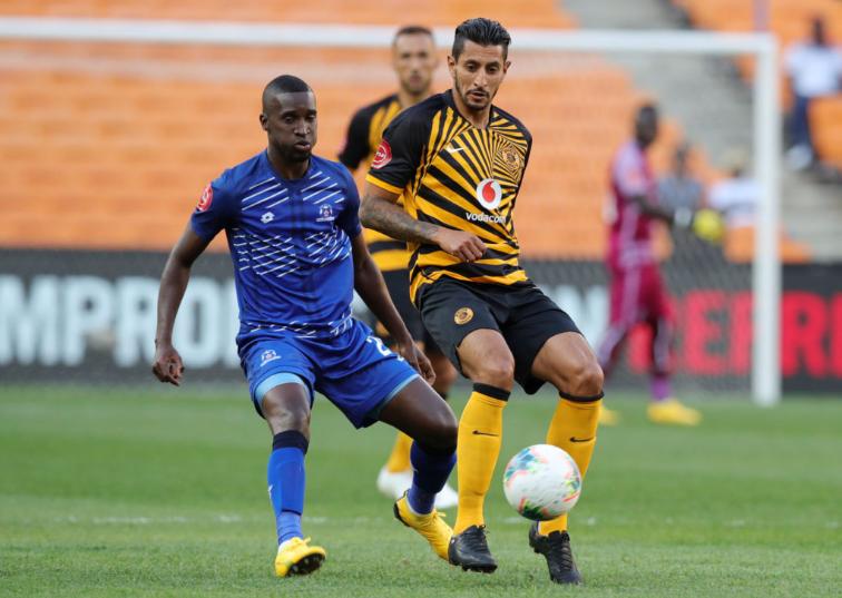 United's Xulu challenges Chiefs' Leonardo Castro in a PSL clash
