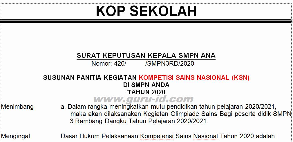 gambar SK KSN SMP 2020