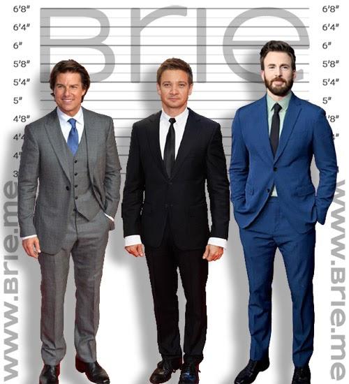 Tom Cruise, Jeremy Renner, Chris Evans height comparison