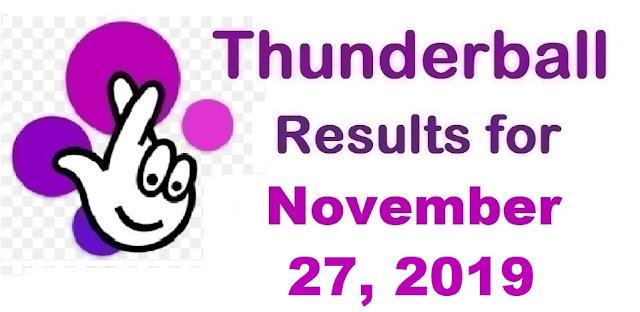Thunderball Results for Wednesday, November 27, 2019