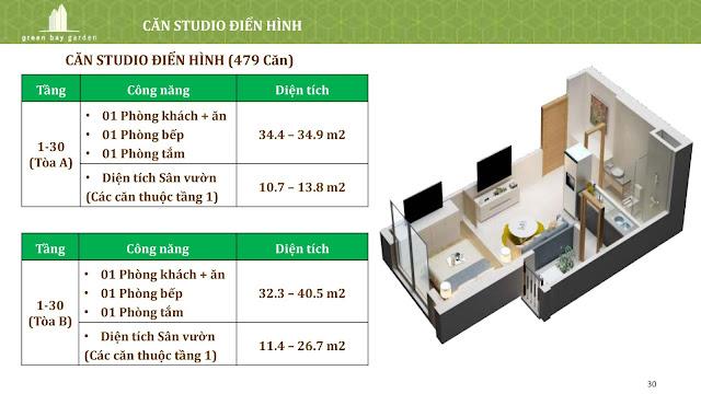 Thiết kế căn Studio (loại điển hình)