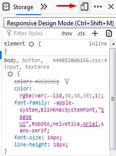 tekan responsive design mode