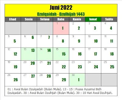 kalender islam hijriyah juni 2022 masehi - kanalmu
