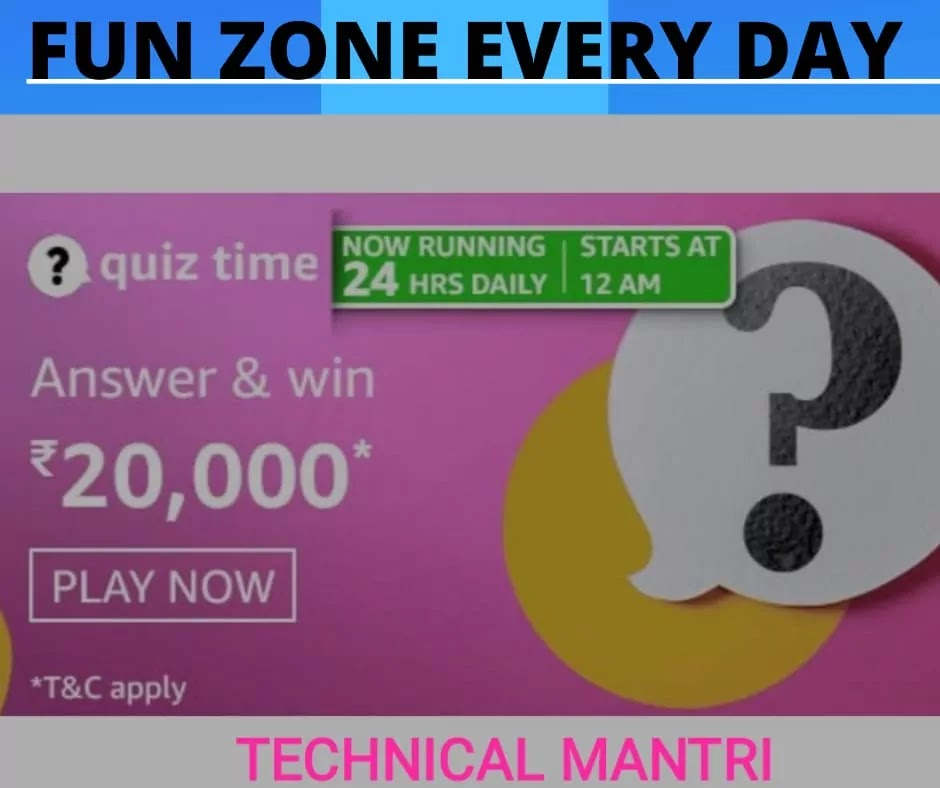 Amazon quiz answers today for 30th March 2021 : Win 20000
