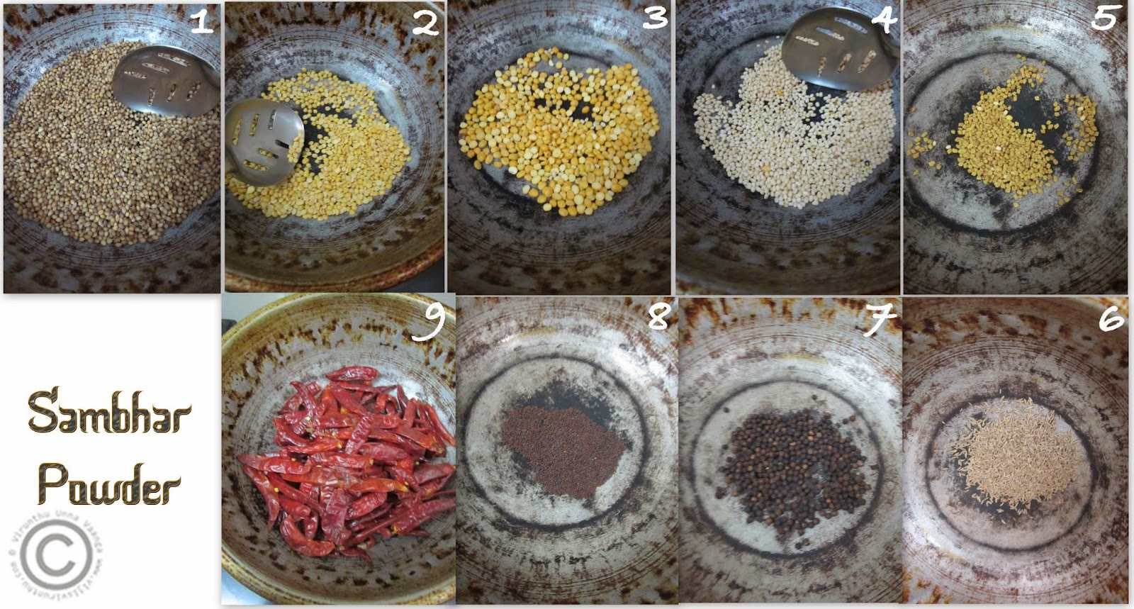 ingredients-to-make-sambhar-powder