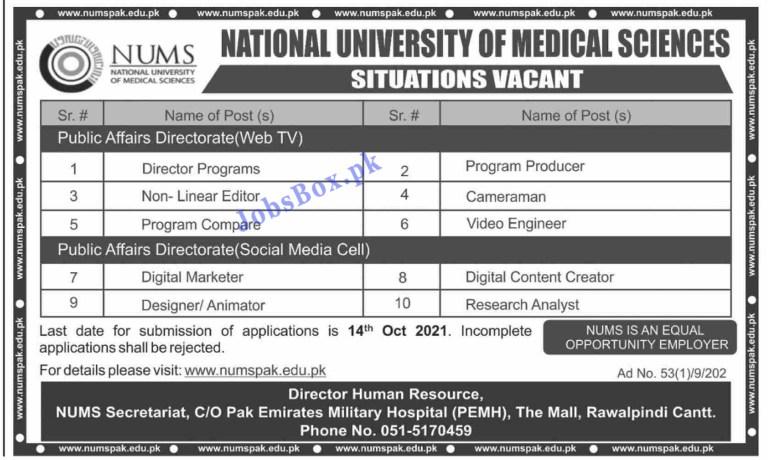 www.numspak.edu.pk - NUMS National University of Medical Sciences Jobs 2021 in Pakistan