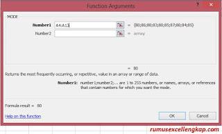 fungsi argument rumus mode excel