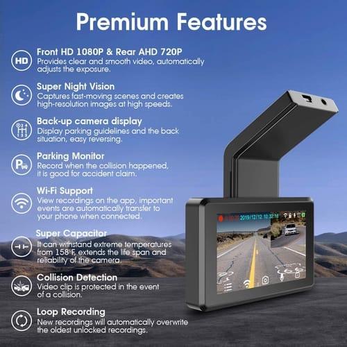 iMirror FHD Car Dual Dash Cam Dashboard